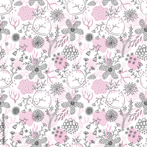Seamless romantic floral pattern