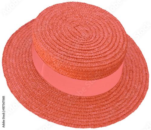 chapeau de paille rouge, bandeau couleur , canotier Maurice Chevalier, fond blan Canvas Print