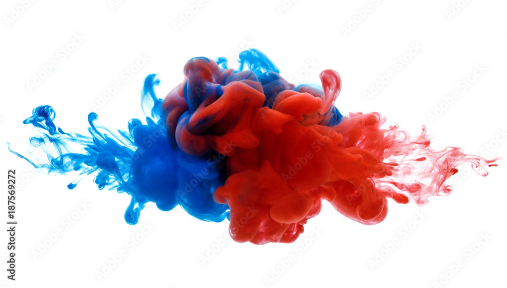 Fototapety, obrazy: Symbol of rivalry and struggle or merging of a compound. Ink in water red and blue isolated on white
