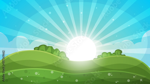 Staande foto Pool Cartoon landscape - abstract illustration. Sun, ray, glare, hill, cloud.
