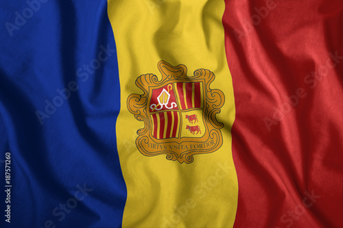 Photo The Andorran flag is flying in the wind