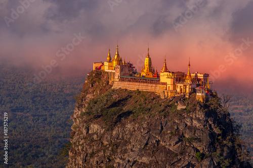Obraz Taung Kalat Monastery on Mt. Popa, Myanmar at sunrise - fototapety do salonu