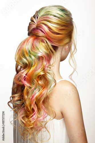 Beauty Fashion Model Girl with Colorful Dyed Hair. Girl with perfect ...