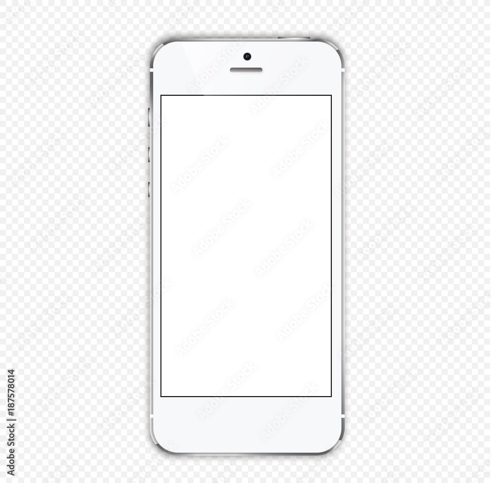 Fototapety, obrazy: white smartphone on with a white screen on a transparent background