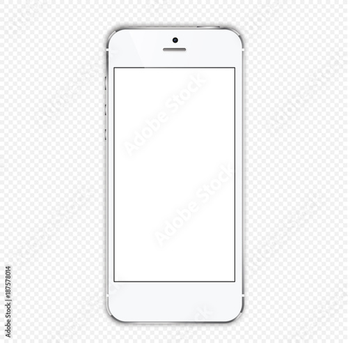 Fotomural white smartphone on with a white screen on a transparent background