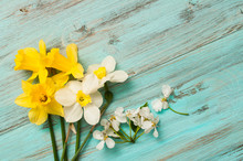 Spring Flowers On A Wooden Bac...