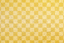 Japanese Gold Checkered Pattern Paper Texture Background