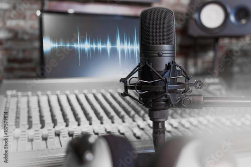 Fotografie, Obraz  condenser microphone on recording studio background