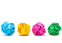 Colorful Crumpled Paper Ball Isolated On White Background With Clipping Path