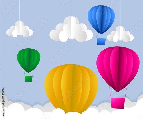 Illustration Of Clouds Suns And Hot Air Balloon Origami Flying On