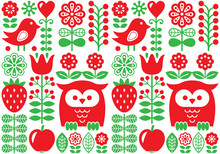 Finnish Inspired Seamless Vector Folk Art Pattern - Scandinavian Design, Nordic Wallpaper With Flowers And Birds
