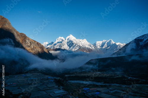 Poster Reflexion sunrise in snowy mountains, Nepal, Sagarmatha, November 2014