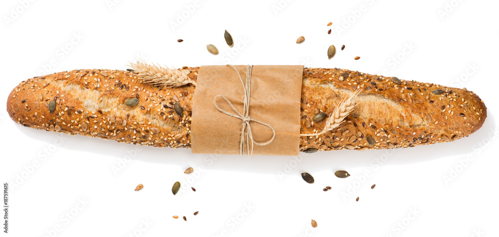 Baguette with cereals top view.