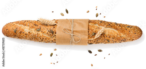 Baguette with cereals top view. Canvas Print