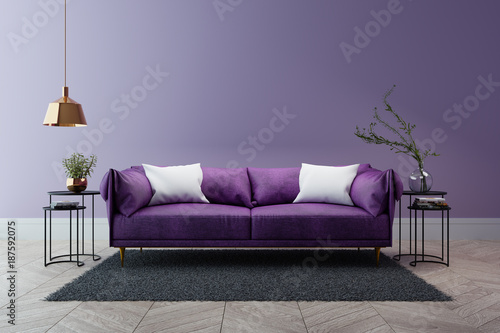 Luxury modern interior of living room ultraviolet home decor