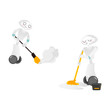 Vector robots, artificial intelligence in modern life concept. Wheeled cyborg assistant helping with household chores, cleaning, sweeping, washing floor . Isolated scene illustration, white background