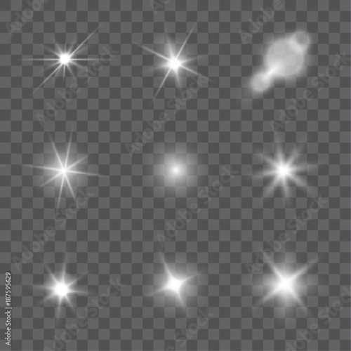 Obraz Collection of vector light effects and lens flares isolated on transparent background - fototapety do salonu