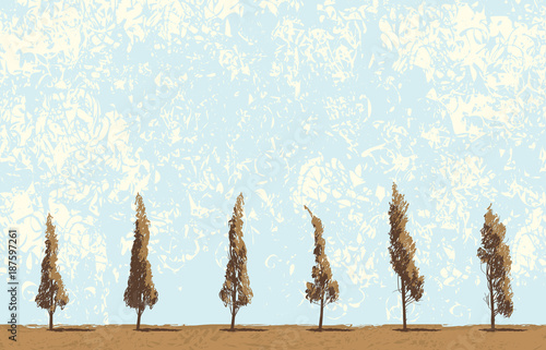 Tuinposter Lichtblauw Vector landscape with trees in a field on blue sky background in grunge style. Seamless pattern of trees with leaves. Drawing pencil abstract sketches of trees