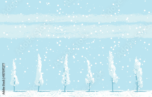 Tuinposter Lichtblauw Vector winter landscape with snowy trees in a field on blue sky background. Seamless pattern of snow covered trees and snowfall.