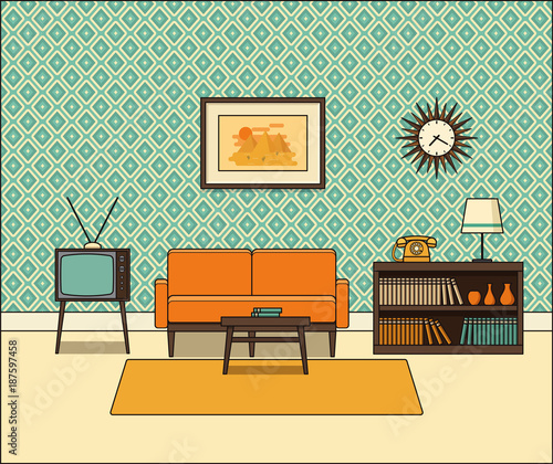 Retro Room Interior Living Room In Line Art Linear Vector Illustration House Equipment Home Space With Vintage Sofa Tv Set And Telephone In Flat Design Cartoon Furniture Buy This Stock Vector