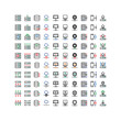 server icon set line color vector isolated