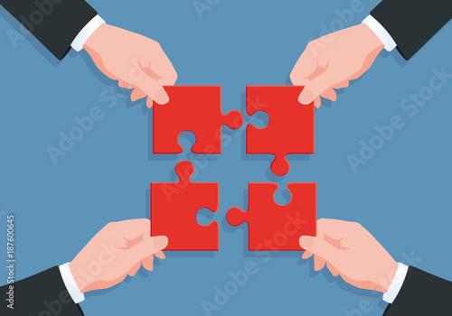 solution - puzzle - équipe - partenariat - entreprise - concept - ensemble - uni Canvas Print
