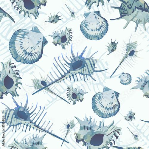 niebieski-wzor-muszle-akwarela-seamles