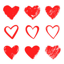 Red Vector Hand Drawn Hearts. ...