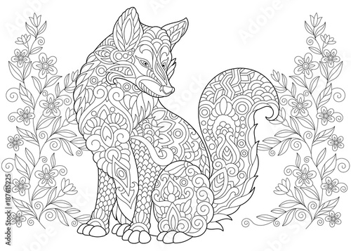 Coloring Page Adult Coloring Book Wild Fox And Summer Or Spring Flowers Antistress Freehand Sketch Drawing With Doodle And Zentangle Elements Buy This Stock Vector And Explore Similar Vectors At Adobe
