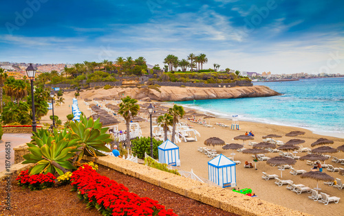 Tuinposter Canarische Eilanden Beautiful summer holiday on EL Duque beach of Tenerife, on Adeje coast, Canary Island - Spain