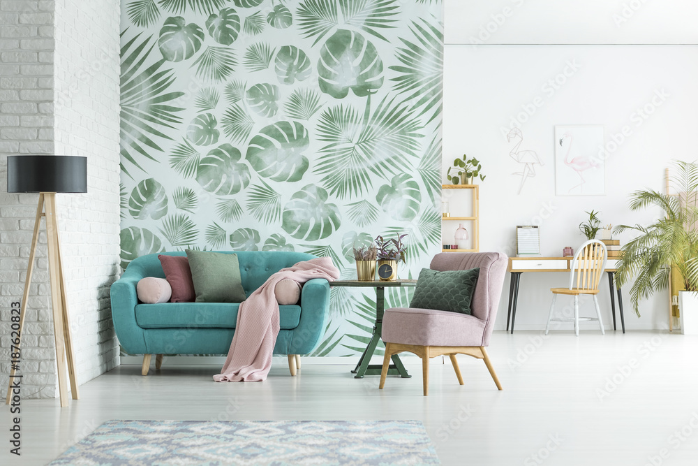Fototapeta Apartment with floral wallpaper