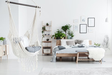 White Hammock In Bedroom Inter...
