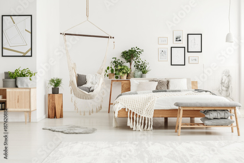 Poster White and beige bedroom interior