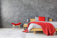 Grey Bedroom With Red Accents