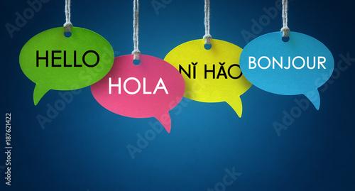 Cuadros en Lienzo Foreign language communication speech bubbles