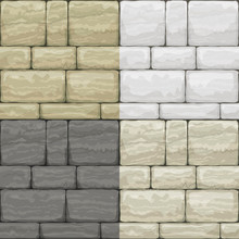 Set Seamless Texture Of Old Stone. Breccia. Classic Vintage Brickwork Of The Facade. Vector Graphics