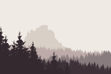 Vector Illustration Of A Landscape With A Forest And A Ruin