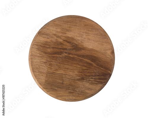 Photo  Empty wooden round old kitchen board