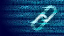 Blockchain Hyperlink Symbol On Binary Code Number Big Data Flow Information. Cryptocurrency Finance Business Concept Vector Illustration Background Template
