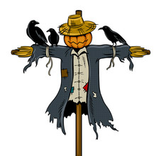 Scarecrow Pop Art Vector Illustration