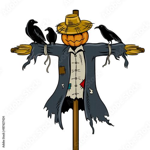Fotografie, Obraz Scarecrow pop art vector illustration