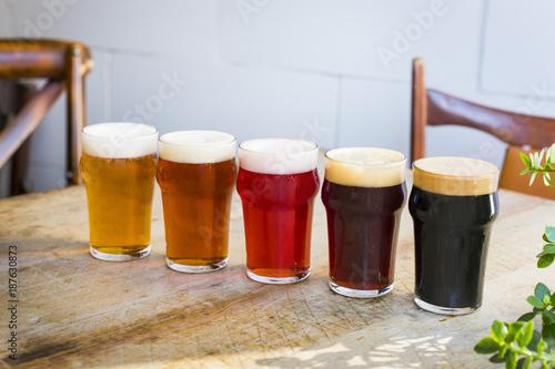 Colección de cervezas artesanas de distintos colores y sabores Canvas Print