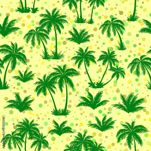 Deurstickers Groene Exotic Seamless Pattern, Tropical Landscape, Palms Trees Green Silhouettes on Abstract Tile Background. Vector
