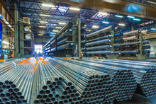 Old Factory Of Auto Components Production. Warehouse Of An Aluminum Pipes