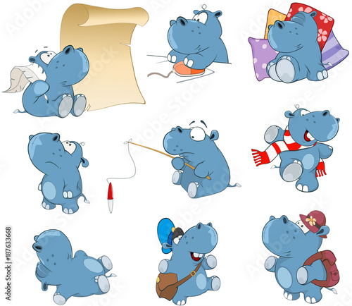 Foto auf AluDibond Babyzimmer Set of Cartoon Illustration. Cute Hippo for you Design