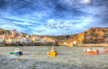 Staithes North Yorkshire England Uk Boats In Harbour Coast Town In Colourful Hdr