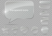 A Set Of Glass Icons Or Geometric Shapes On A Blue Background. Vector Graphics With The Effect Of Transparency.