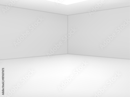 Empty white room. Vector illustration