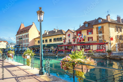 Scenic view on  Canal du Thiou in Annecy. French Alps, France