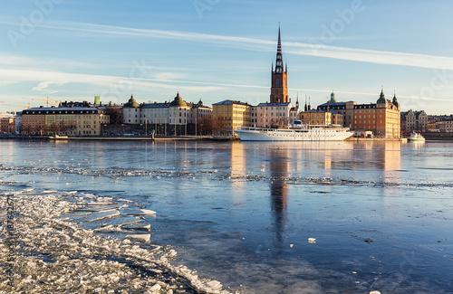 Riddarholmen island in Stockholm city on a sunny winter day. Canvas